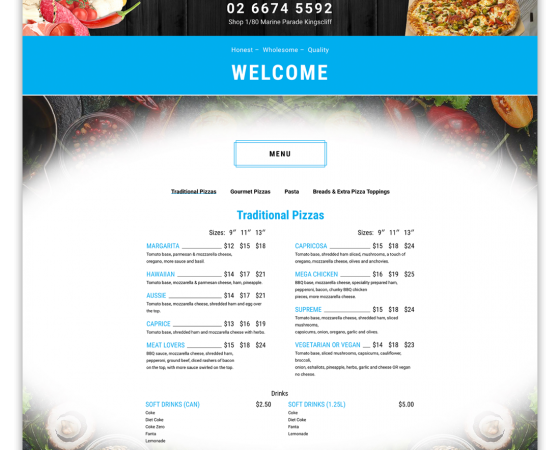 Kingscliff Pizza & Pasta Website
